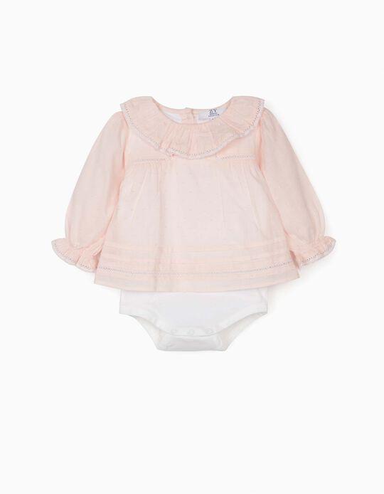 Body Blusa Plumetis para Bebé Niña, Rosa