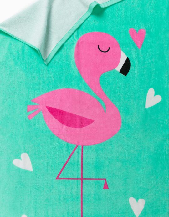 Beach Towel for Girls, 'Flamingo', Green