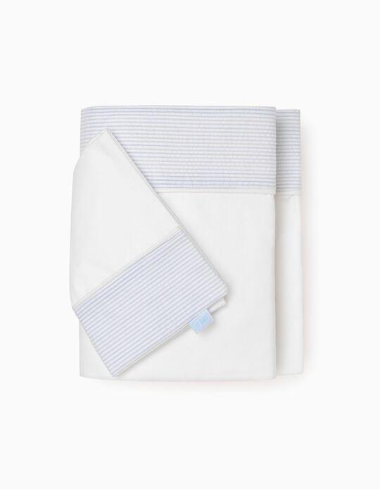 Sheet + Pillow Case 70x90Cm Essential Blue Zy Baby