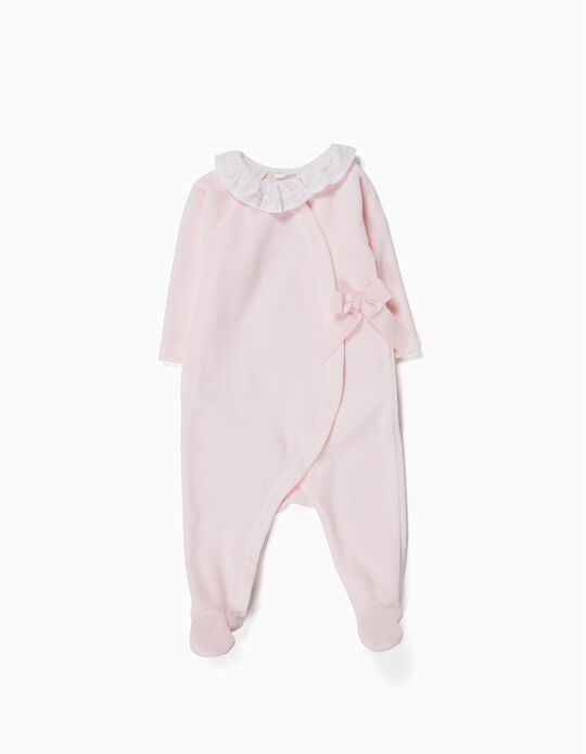 Velvet Sleepsuit with Bow for Newborn, Pink