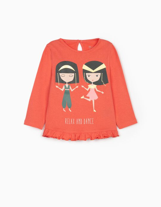 T-shirt Manga Comprida 'Relax and Dance', Rosa
