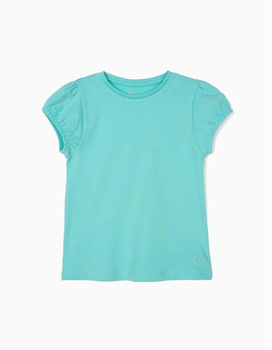 T-shirt para Menina, Verde Água