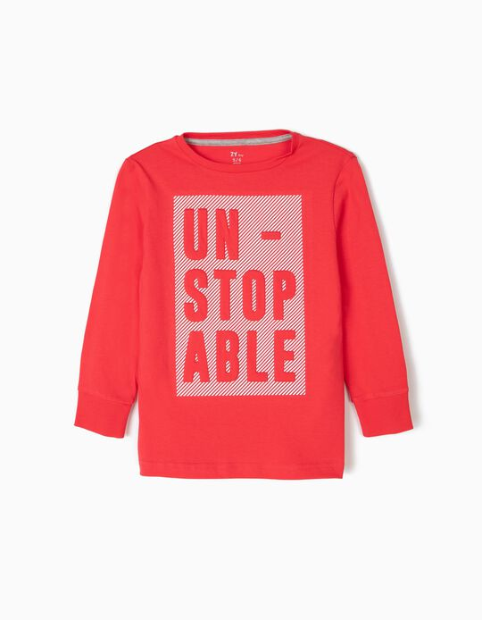 Camiseta de Manga Larga para Niño 'Unstopable', Roja