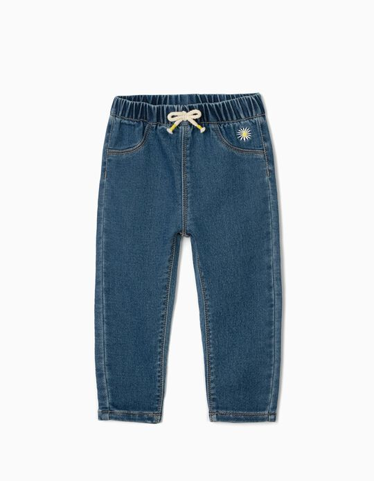 Jeggings with Embroidery for Baby Girls, 'Comfort Denim', Blue