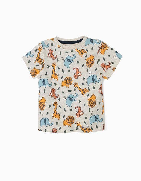 T-shirt para Bebé Menino 'Animals' em Algodão Orgânico, Bege Mesclado