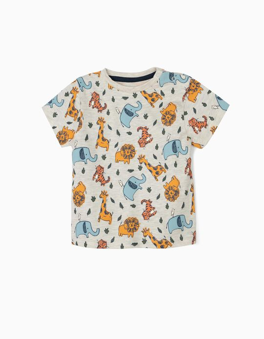 Camiseta para Bebé Niño 'Animals' de Algodón Orgánico, Beige Jaspeado