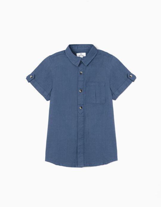 Chemise manches courtes garçon, bleu foncé