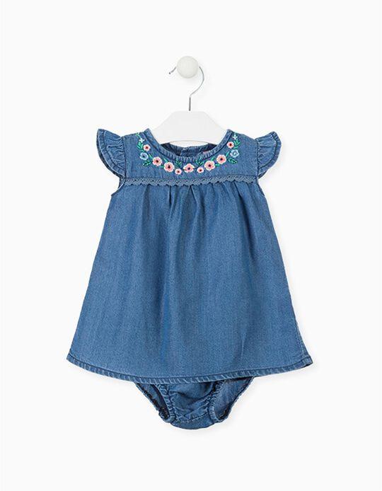 Vestido de Ganga com Tapa-Fraldas para Recém-Nascida LOSAN, Azul