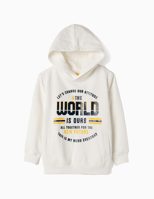 Sudadera con Capucha para Niño 'The World is Ours', Blanca