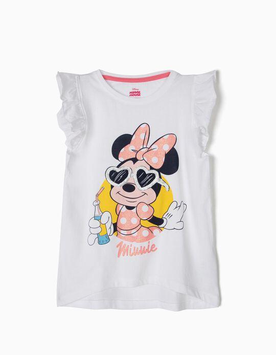 T-shirt para Menina 'Minnie' com Folhos, Branco