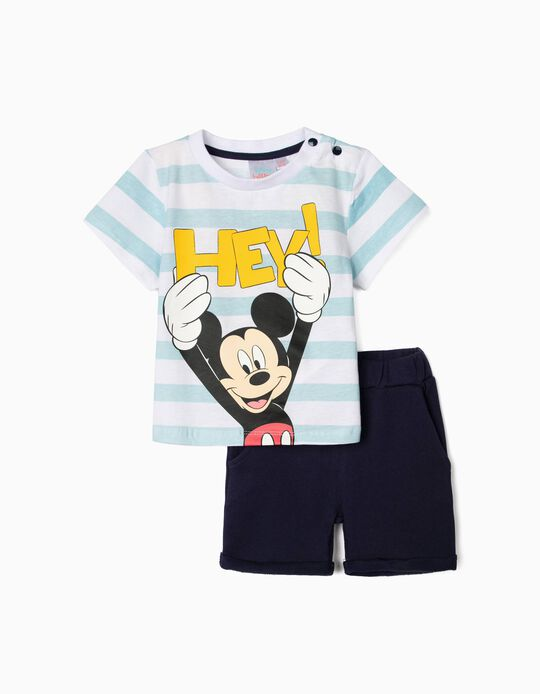 T-shirt and Shorts for Baby Boys, 'Hey Mickey', White/Blue