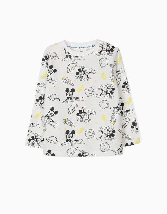 Camiseta de Manga Larga para Bebé Niño 'Mickey Space', Blanco