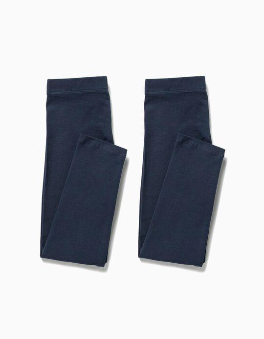 2 Leggings para Menina, Azul Escuro