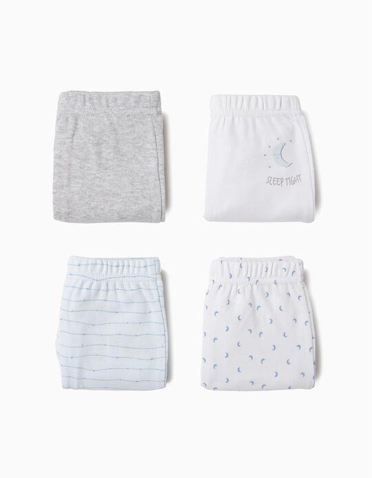 4 Calças para Recém-Nascido 'Sleep Tight', Azul, Branco e Cinza