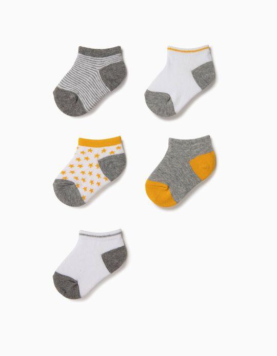 5 Pares de Calcetines Cortos para Bebé Niño 'Stripes & Stars', Multicolor