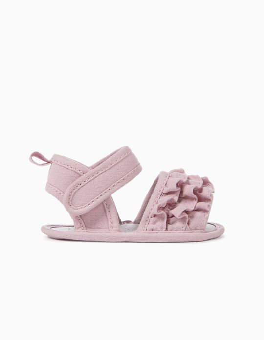 Sandalias para Recién Nacida con Volantes, Lila