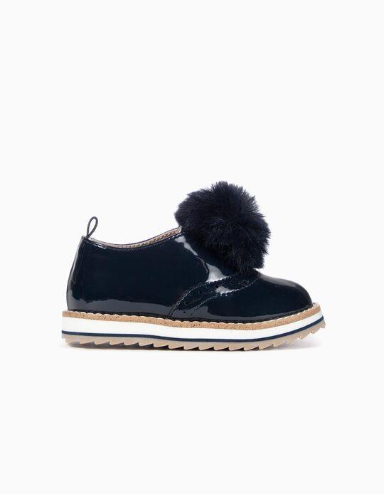 Zapatos de Charol para Bebé Niña con Pompón, Azul Oscuro
