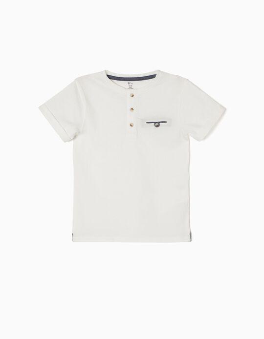 Camiseta con Botones Blanca