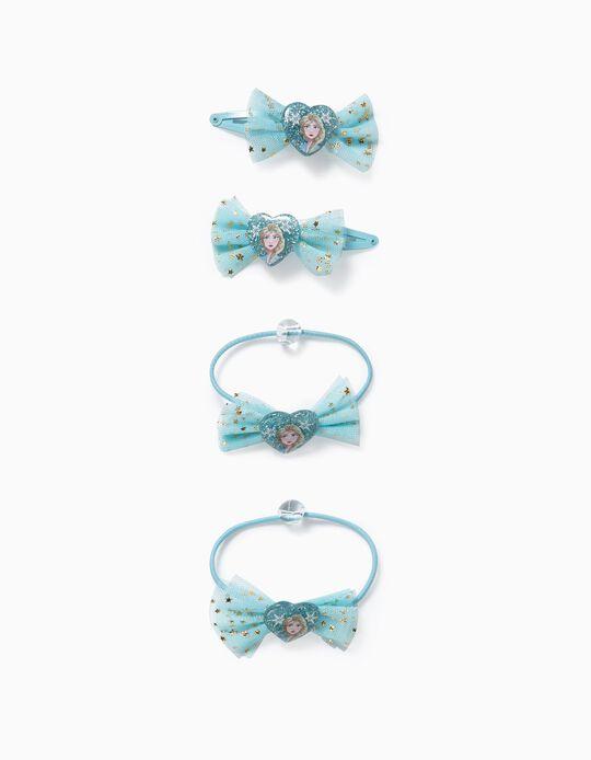 2 pinces + 2 élastiques fille 'Reine des neiges II', bleu