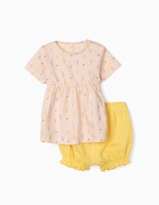 Pijama para Bebé Niña 'Ice Creams', Rosa/Amarillo
