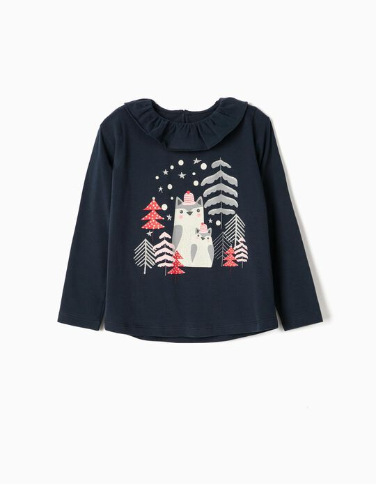 Long Sleeve Top for Girls, 'Christmas', Dark Blue