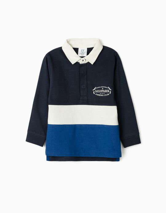 Long Sleeve Polo Shirt for Baby Boys, 'Fishing Club', Dark Blue
