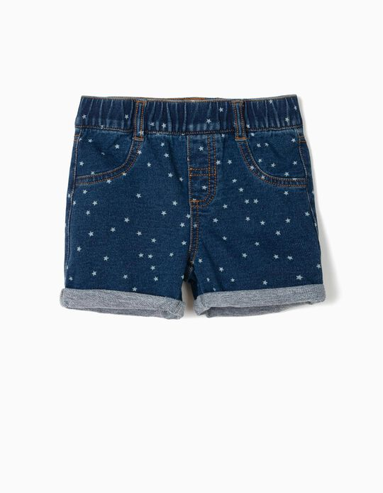 Calções Denim para Bebé Menina 'Stars', Azul Escuro