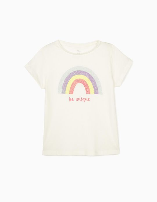 T-shirt for Girls 'Be Unique', White