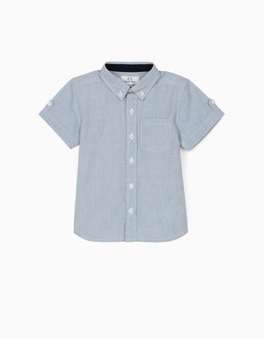 Camisa Riscas para Bebé Menino, Azul