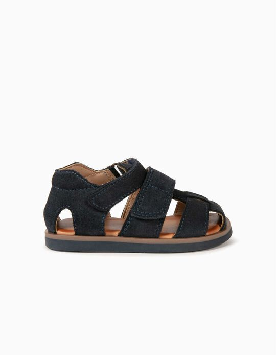 Leather Sandals for Baby Boys, Dark Blue