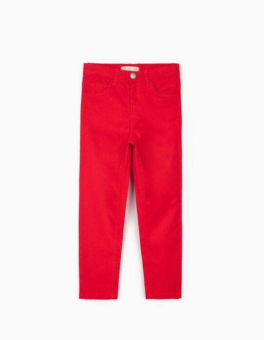 Calças Sarja para Menina, Vermelho