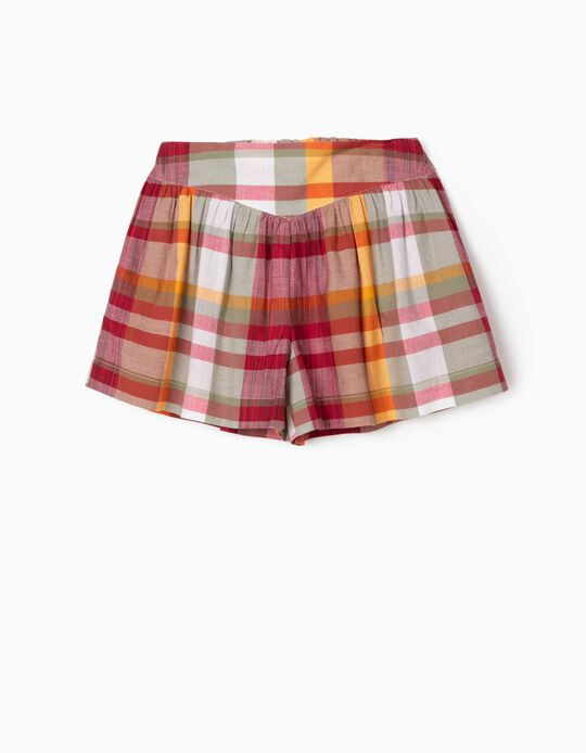 Chequered Shorts for Girls, Multicoloured