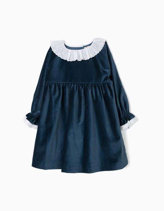 Vestido Veludo com Folhos Azul Escuro