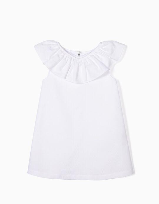 Vestido para Menina com Textura, Branco