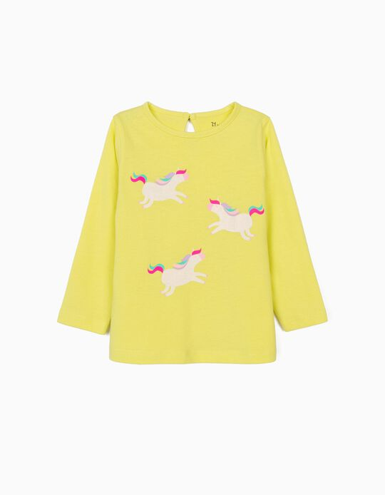 Long Sleeve Top for Baby Girls, 'Unicorns', Lime Yellow