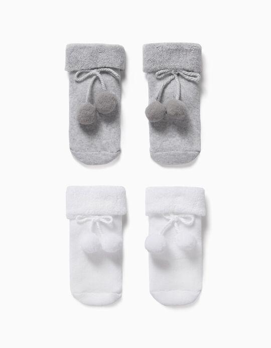 2 Pares de Meias com Pompons para Bebé, Branco/Cinza