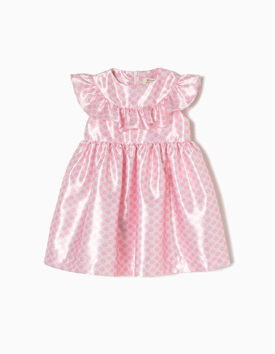 Vestido Tafetá para Bebé Menina, Rosa