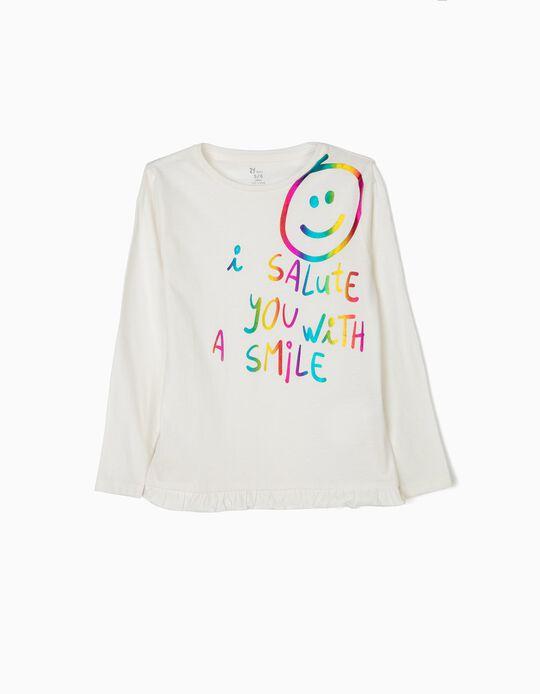 Camiseta de Manga Larga para Niña 'Sharing is Caring', Blanca