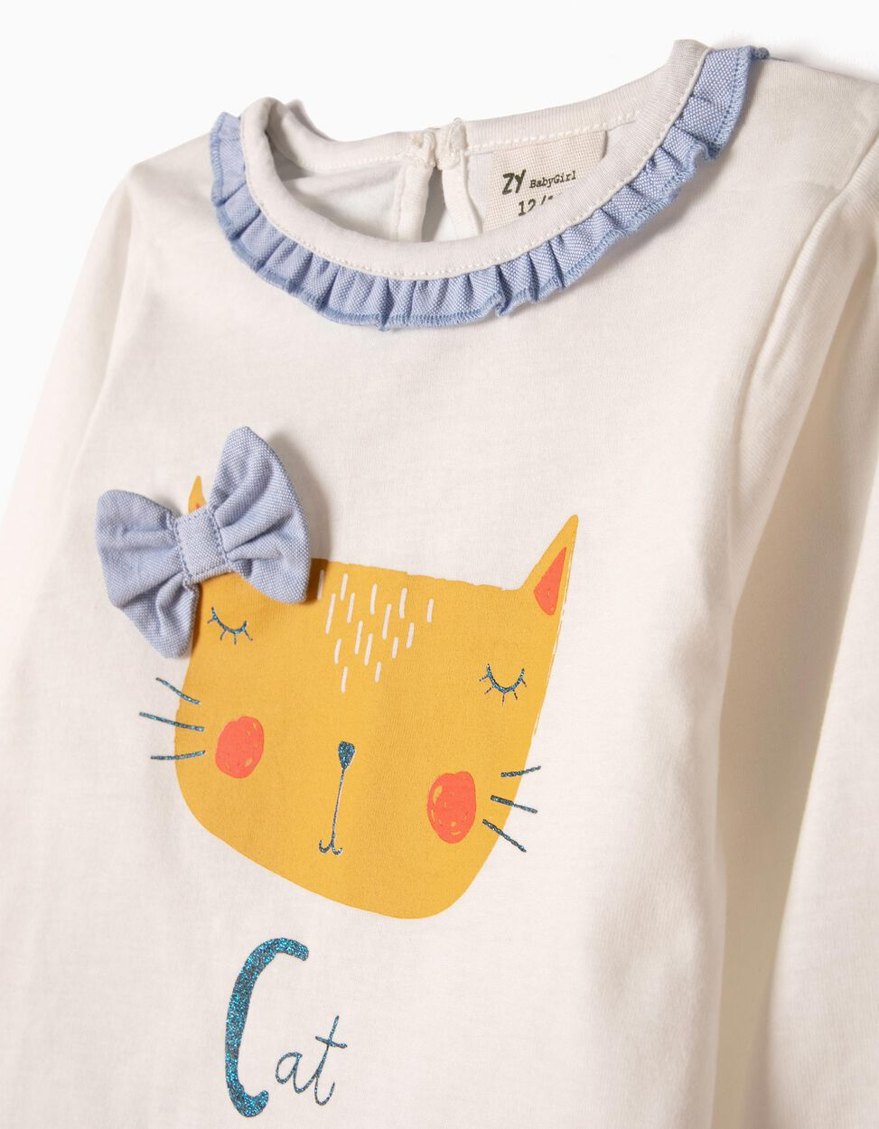 Falda con Cubrepañal y Camiseta de Manga Larga Cat