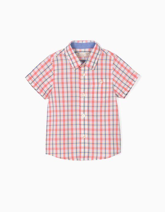 Camisa para Bebé Menino Quadrados, Coral