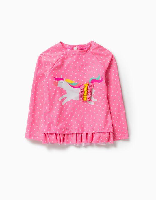 T-shirt de Banho Proteção UV 80 para Bebé Menina 'Unicorn', Rosa