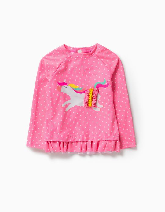 Rash Guard for Baby Girls, UV 80 Protection, 'Unicorn', Pink