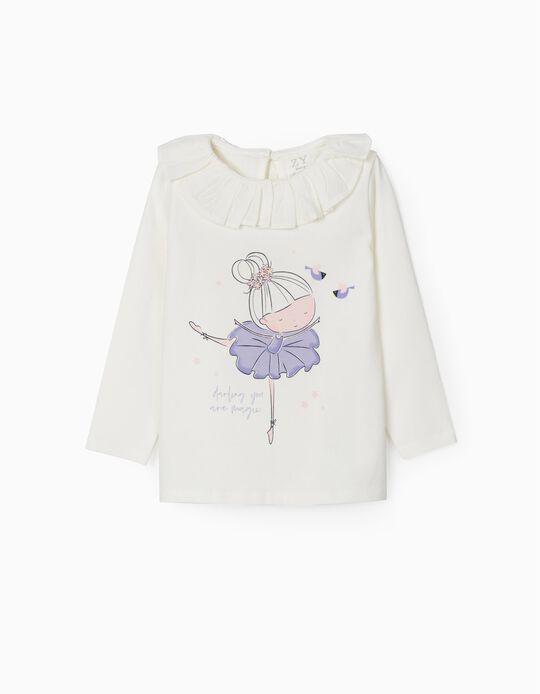 T-shirt Manga Comprida para Bebé Menina 'Ballerina', Branco