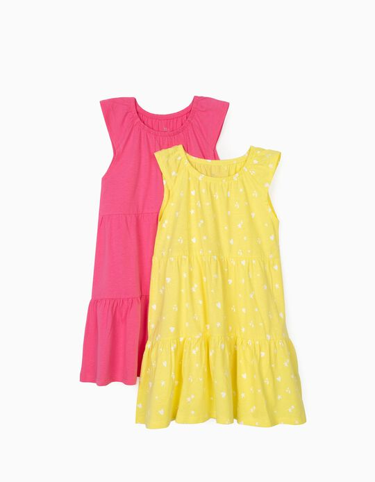 2 robes Jersey fille 'Hearts & Stars', jaune/rose
