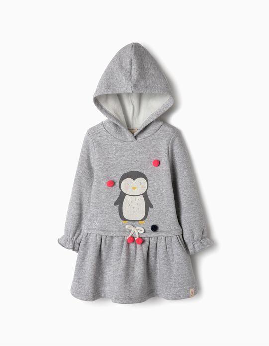 Vestido con Capucha para Bebé Niña 'Pingüino', Gris