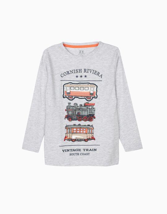 Camiseta de Manga Larga para Niño 'Vintage Express', Gris