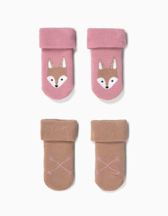 2 Pares Meias Antiderrapantes para Bebé Menina 'Fox', Rosa/Castanho