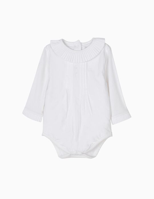 Body Blusa Blanco con Pliegues