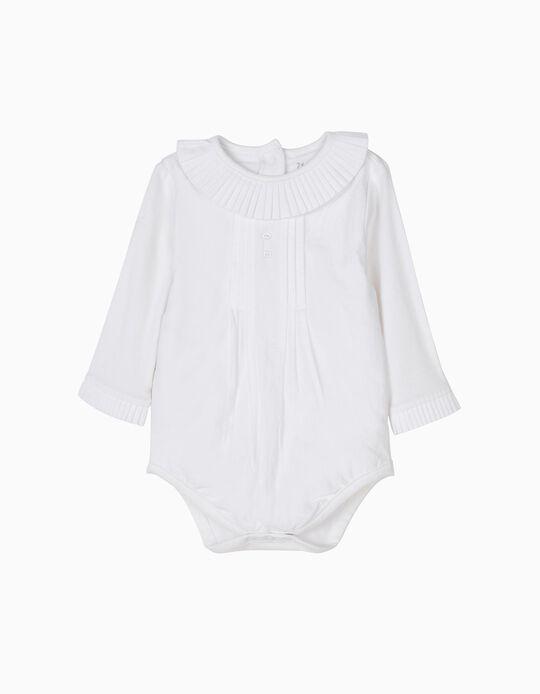 Body-Blusa Branco com Pregas