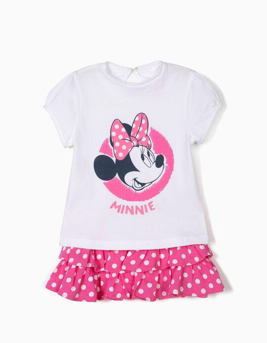 T-shirt e Saia de Folhos para Bebé Menina, Branco e Rosa